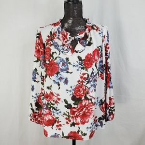 LOFT Outlet Ivory Red Floral Split Neck Blouse